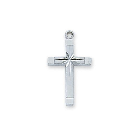 "Sterling Silver Engraved Cross Silver 18"" Chain and Box (Style: L8062)"