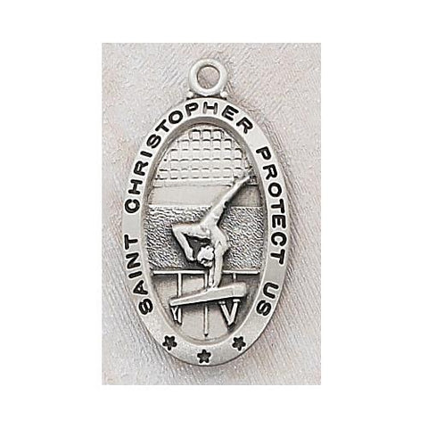 "Sterling Silver Gymnastics Medal 18"" Chain and Box (Style: L560GY)"