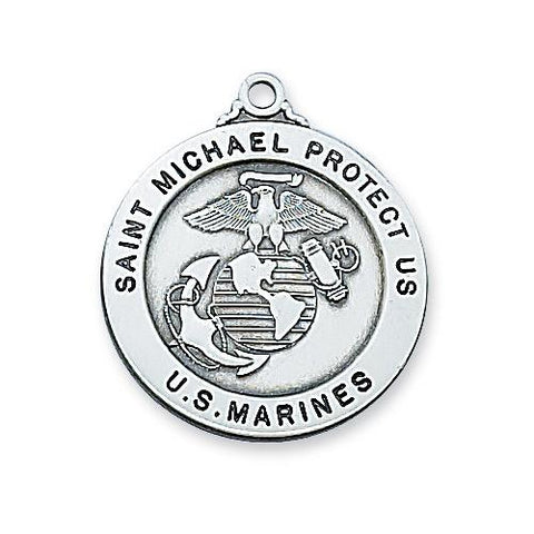 "Sterling Silver Marine Service Medal 24"" Chain and Box (Style: L650MRN)"