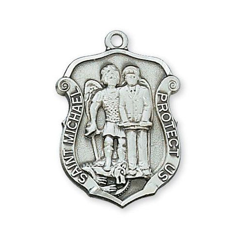 "Sterling Silver Medium St. Michael 20"" Chain and Box (Style: L571)"