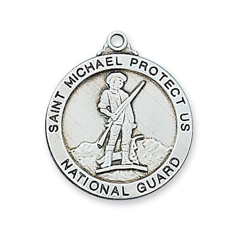"Sterling Silver National Guard Medal 24"" Chain (Style: L650NG)"