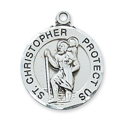 "Sterling Silver Round St. Christopher 24"" Chain and Box (Style: L608)"
