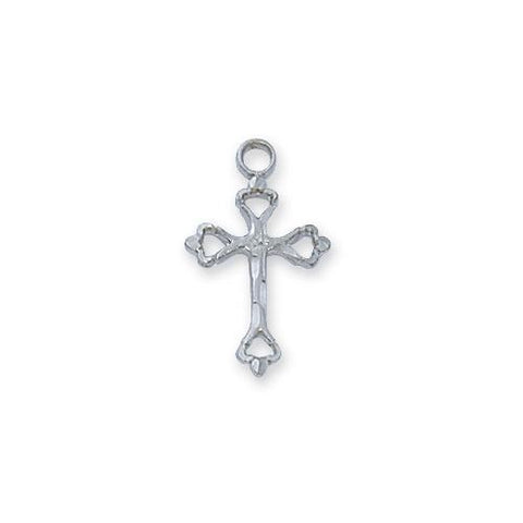 "Sterling Silver Small Engraved Cross Silver 16"" Chain"" (Style: L8033W)"