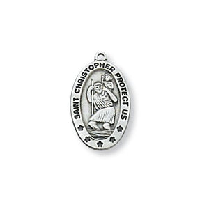 "Sterling Silver St. Christopher 18"" Chain and Box (Style: L464)"