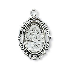 "Sterling Silver St. Christopher 18"" Chain and Box (Style: L621CH)"