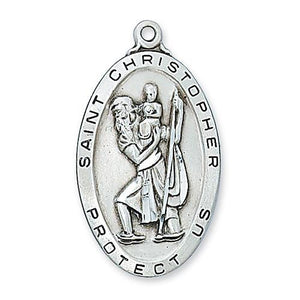 "Sterling Silver St. Christopher 24"" Chain and Box (Style: L462)"