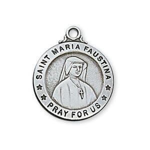 "Sterling Silver St Maria Faustina 20"" Chain and Box (Style: L600FA)"