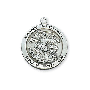 "Sterling Silver St. Michael 18"" Chain and Box (Style: L515MK)"
