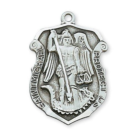 "Sterling Silver St. Michael 24"" Chain and Box (Style: L414)"