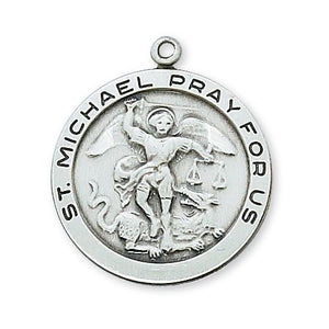 Sterling Silver St. Michael 24 Chain and Box (Style: L420MK)