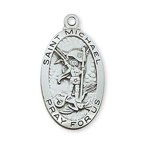 "Sterling Silver St. Michael 24"" Chain and Box (Style: L550MK)"
