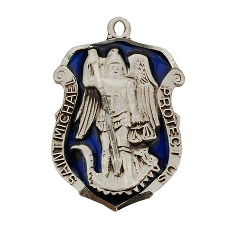 "Sterling Silver St. Michael Badge 24"" Chain (Style: L764)"