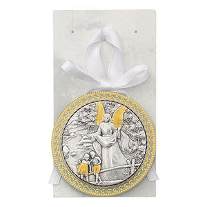 White Guardian Angel Baby Crib Medal (Style: PW22)