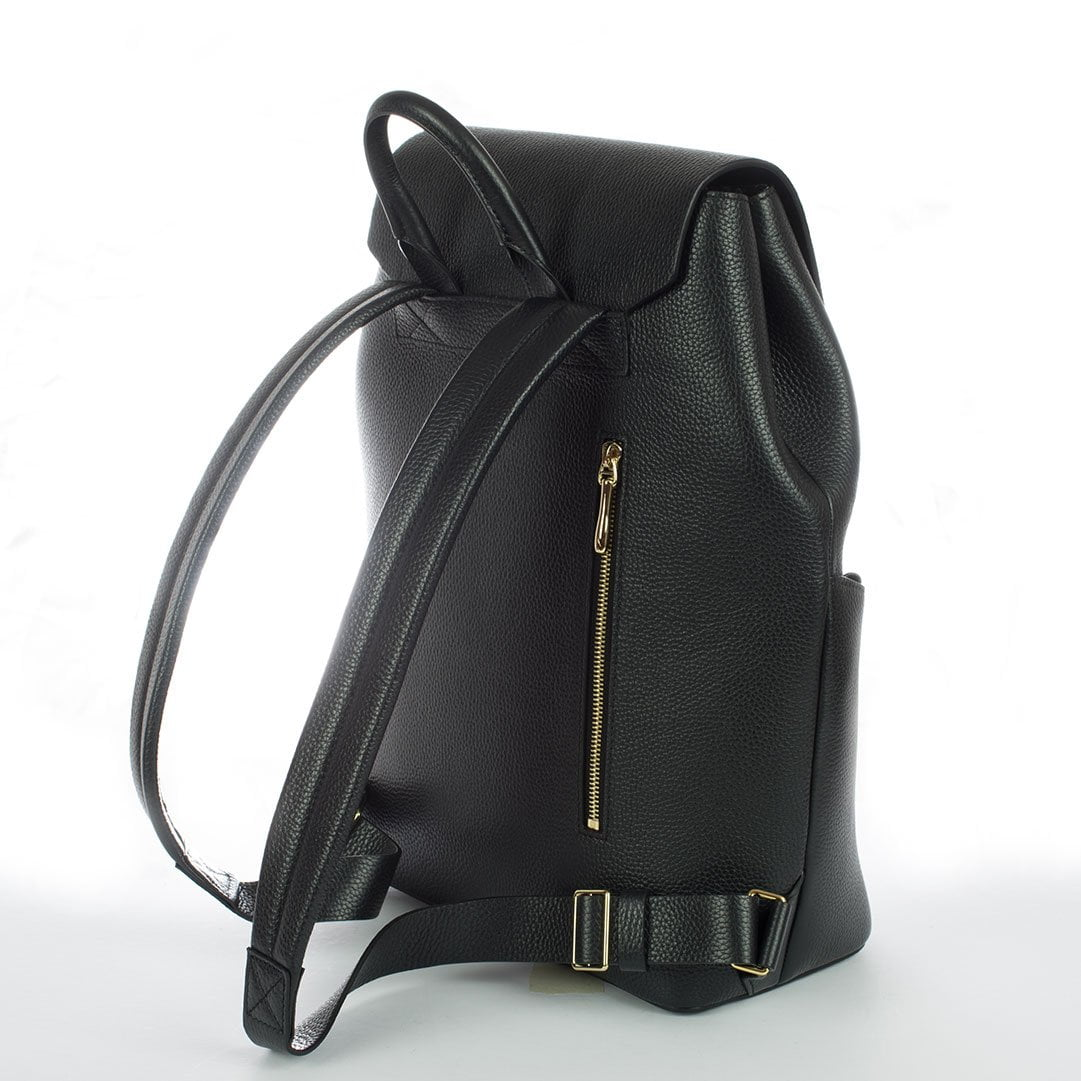 Aruku - Women's Leather Backpack Black Back Side