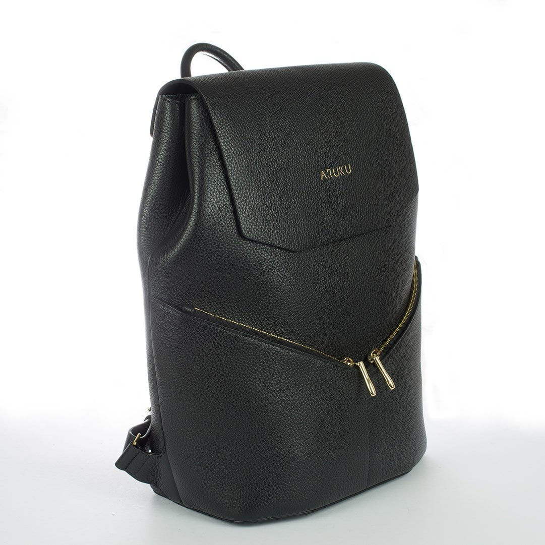 Aruku - Women's Leather Backpack Black Front Side