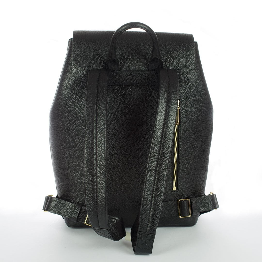 Aruku - Women's Leather Backpack Black Reverse