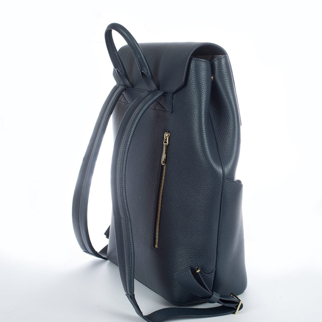 Aruku - Women's Leather Backpack Blue Back Side