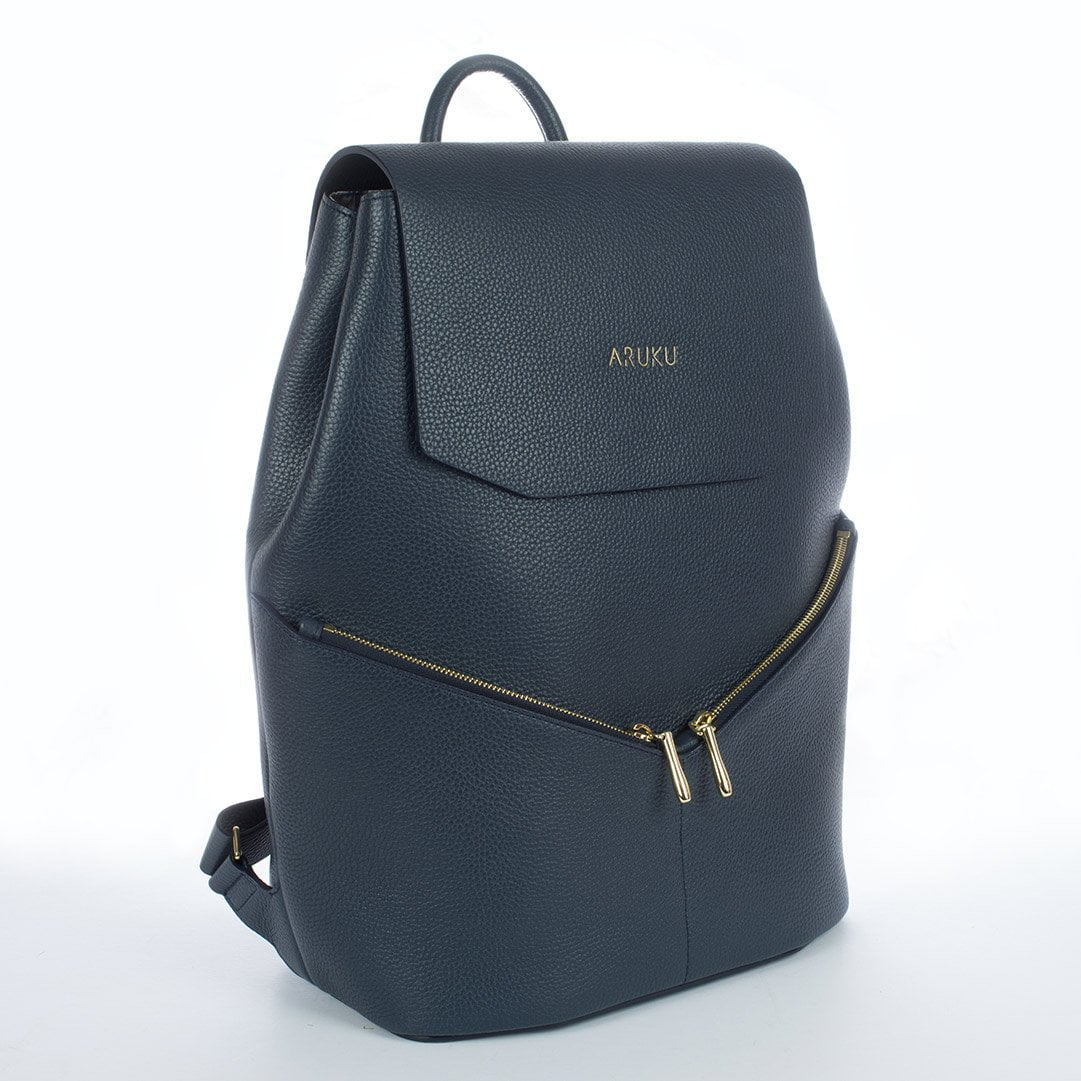 Aruku - Women's Leather Backpack Blue Front Side