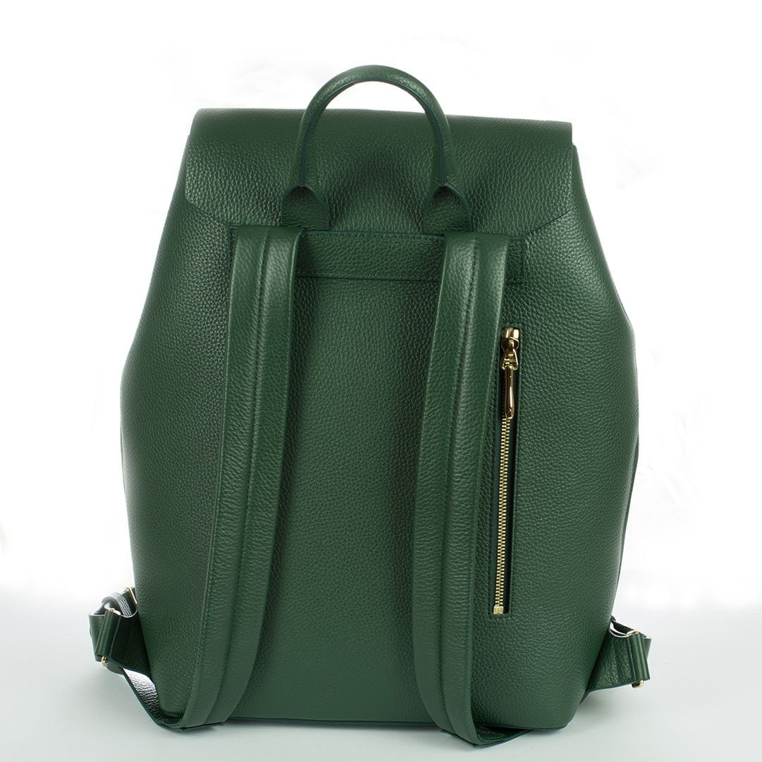 Aruku - Women's Leather Backpack Green Reverse