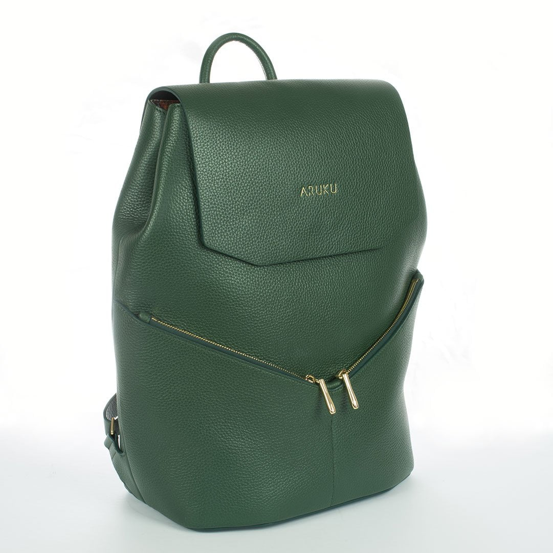 Aruku - Women's Leather Backpack Green Front Side