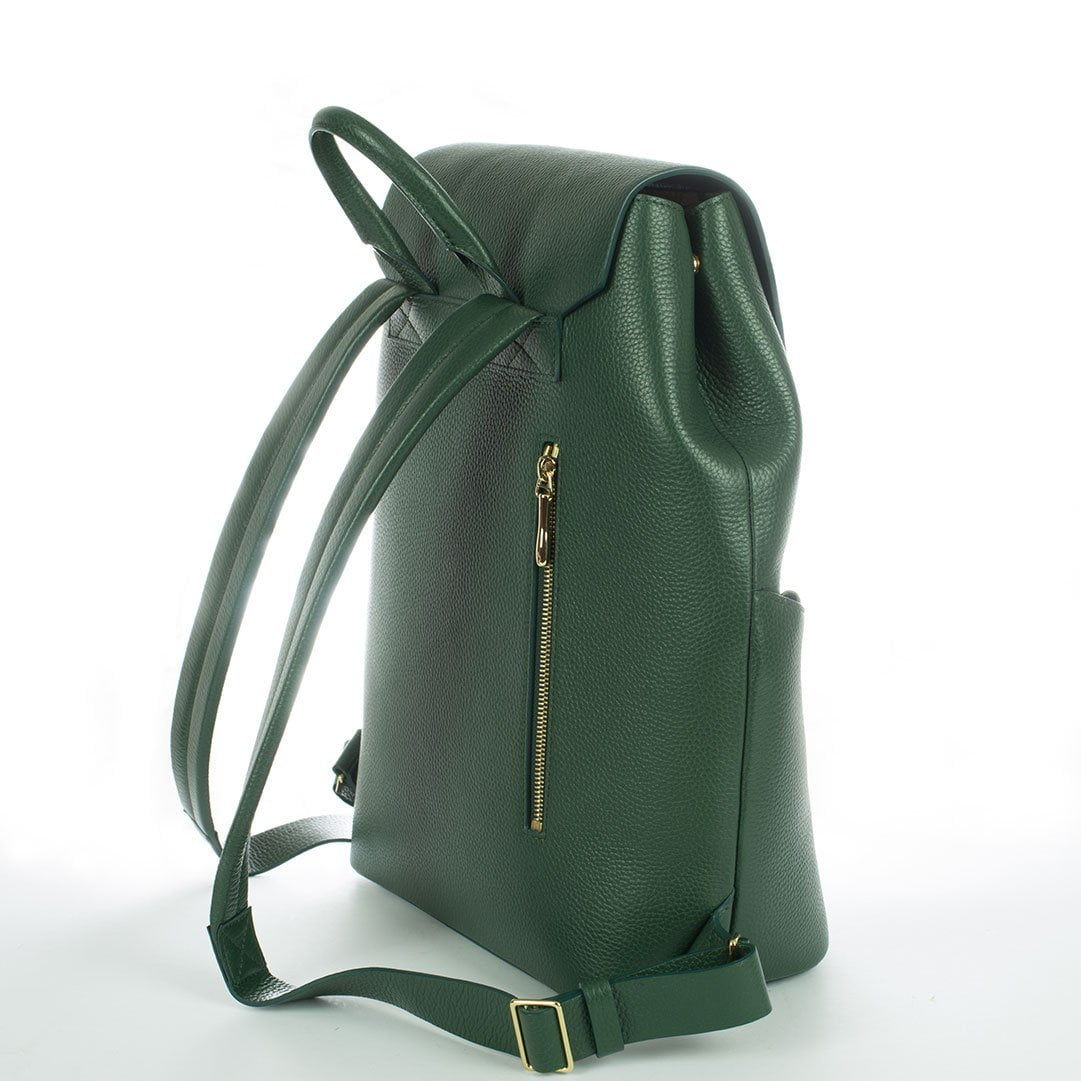 Aruku - Women's Leather Backpack Green Back Side