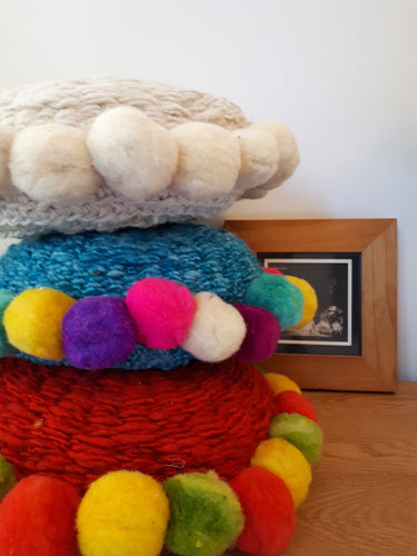 Round Pom Pom Wool Cushion Cover