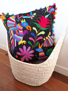 Otomi Black Multicolor Cushion Cover