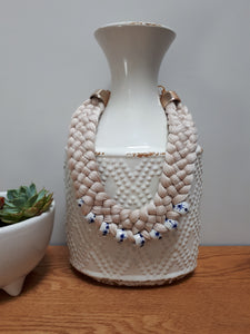 Hand Knitted Necklace with talavera