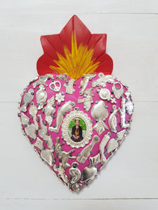 Frida Milagros Heart - Medium - Pink