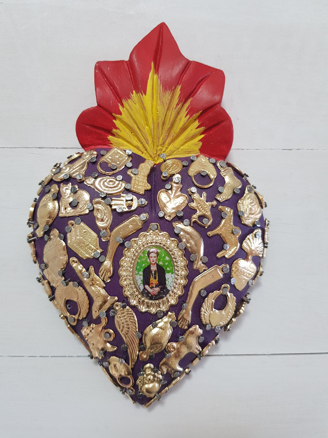 Frida Milagros Heart - Medium - Purple