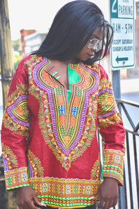 Maroon Long Sleeve Dashiki Shirt