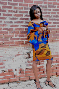 Blue with Orange Design Top and Bottom