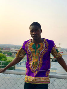 Purple Short Sleeve Dashiki Shirt