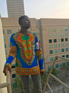 Baby Blue Long Sleeve Dashiki Shirt