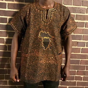Brown Short Sleeve Africa Casual Shirt