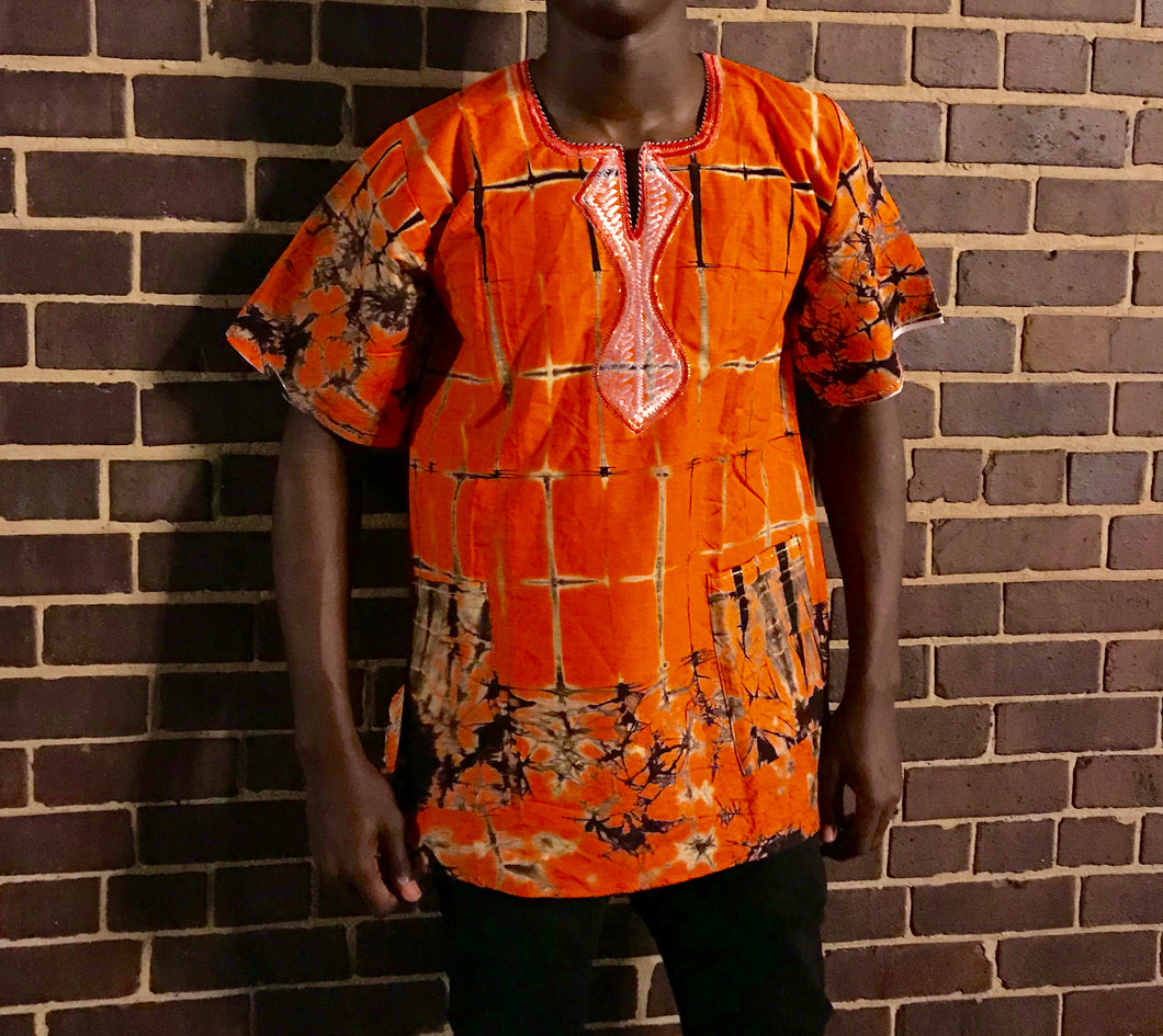 Orange Short Sleeve Fashion Print