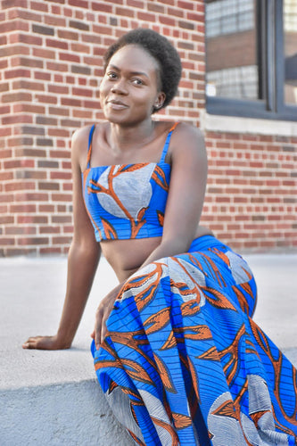 Blue with Orange Design Top and Bottom Dress