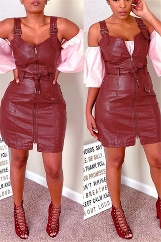 PU Zipper Cami Dress With Belt