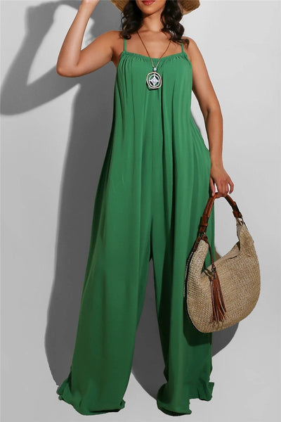 Solid Color Ruched Cami Casual Jumpsuit