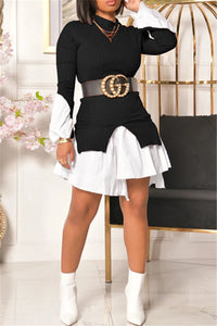 Ribbed Material with Cotton Shirt Splicing Mini Dress
