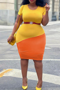 Plus Size XL-4XL Color Splicing Round-Neck Mini Dress