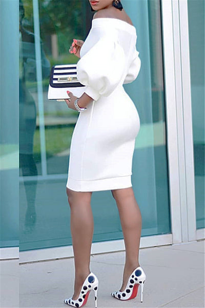 Lantern Sleeve Mini Dress