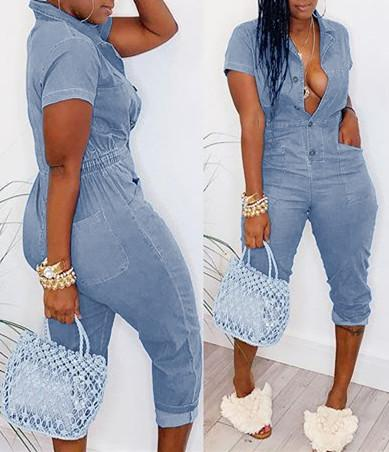 Button Front Denim Jumpsuit With Pockets