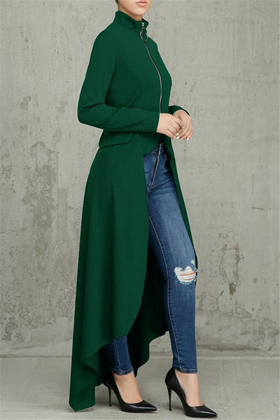 Irregular Hem High Collar Zipper Jacket