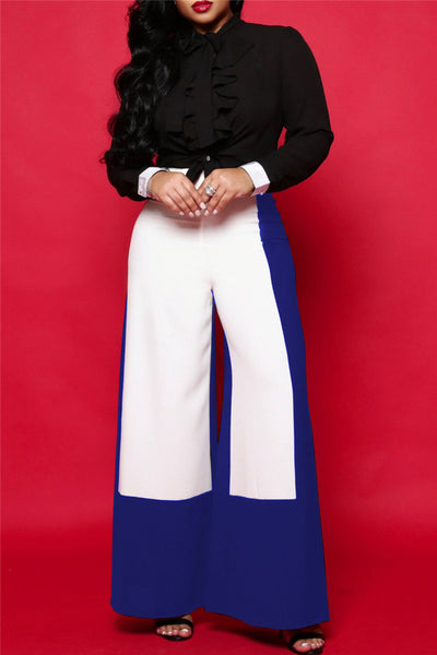 Color Splicing Wide Leg Pants