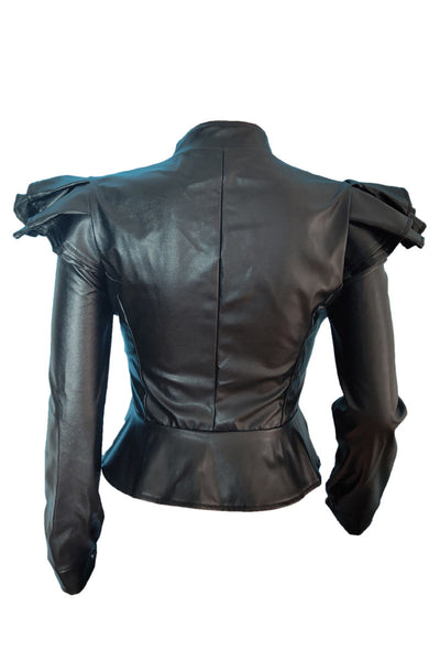 Flounce Shoulder PU Leather Jacket