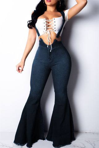 Denim High Waist Flares Overall