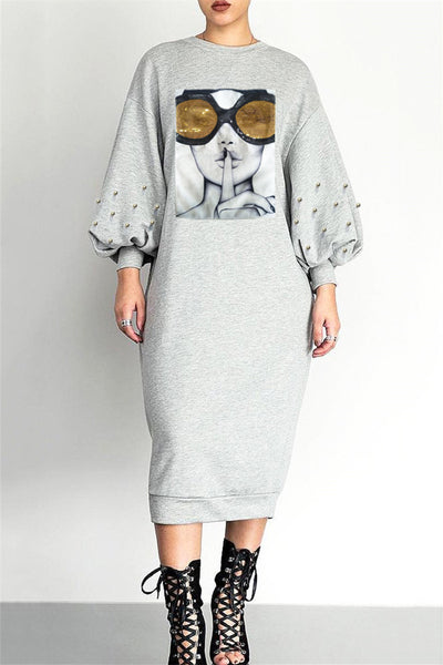 Pearl Bubble Sleeve Midi Dress