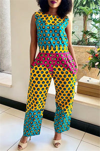 Printed Sleeveless Jumpsuit With Pocket
