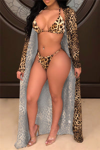 Leopard Printed Bikini & Cover Up Sets